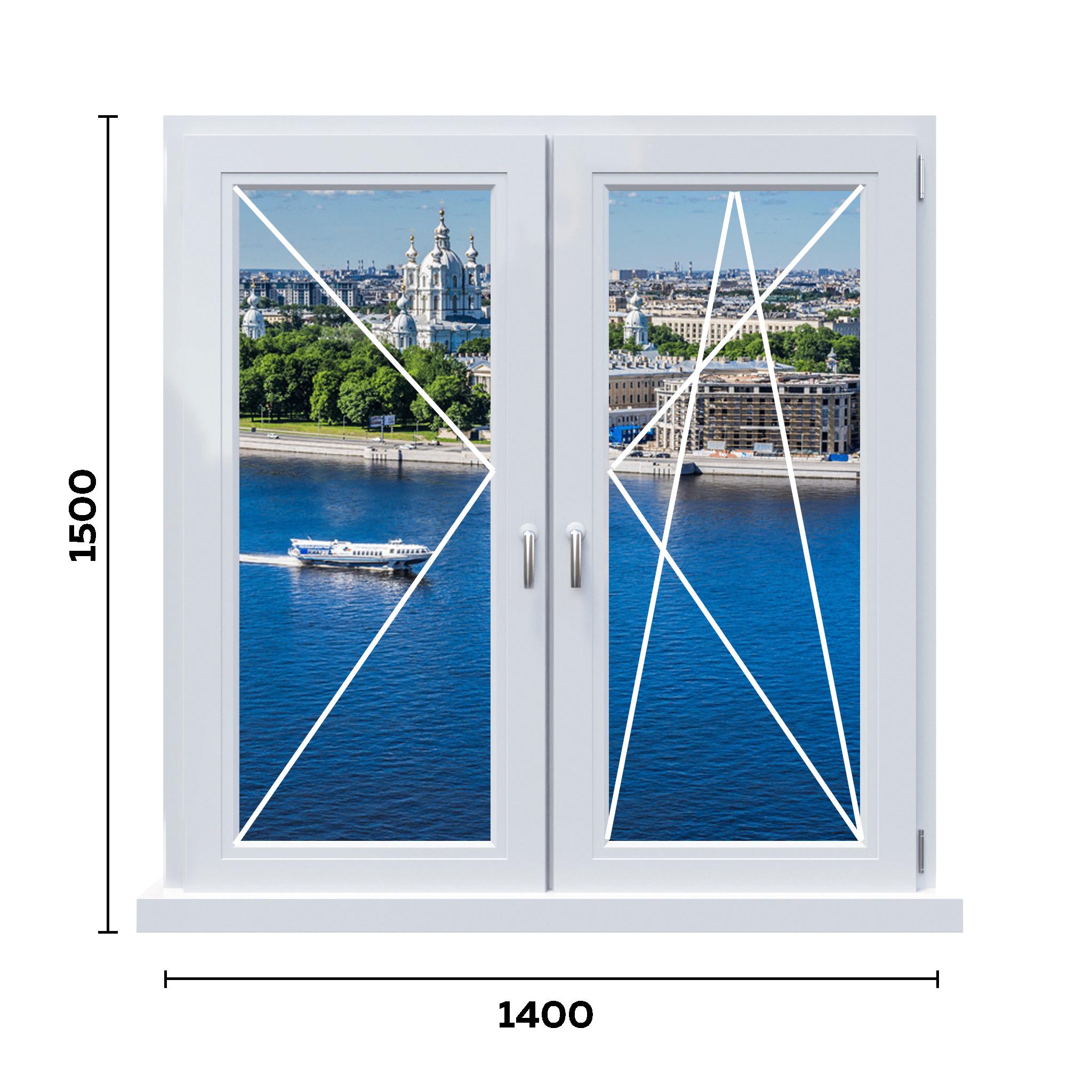 схема двухстворчатого окна 650 мм с двумя ручками
