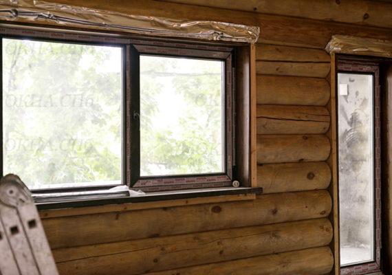 пластиковые окна и двери в деревянном доме