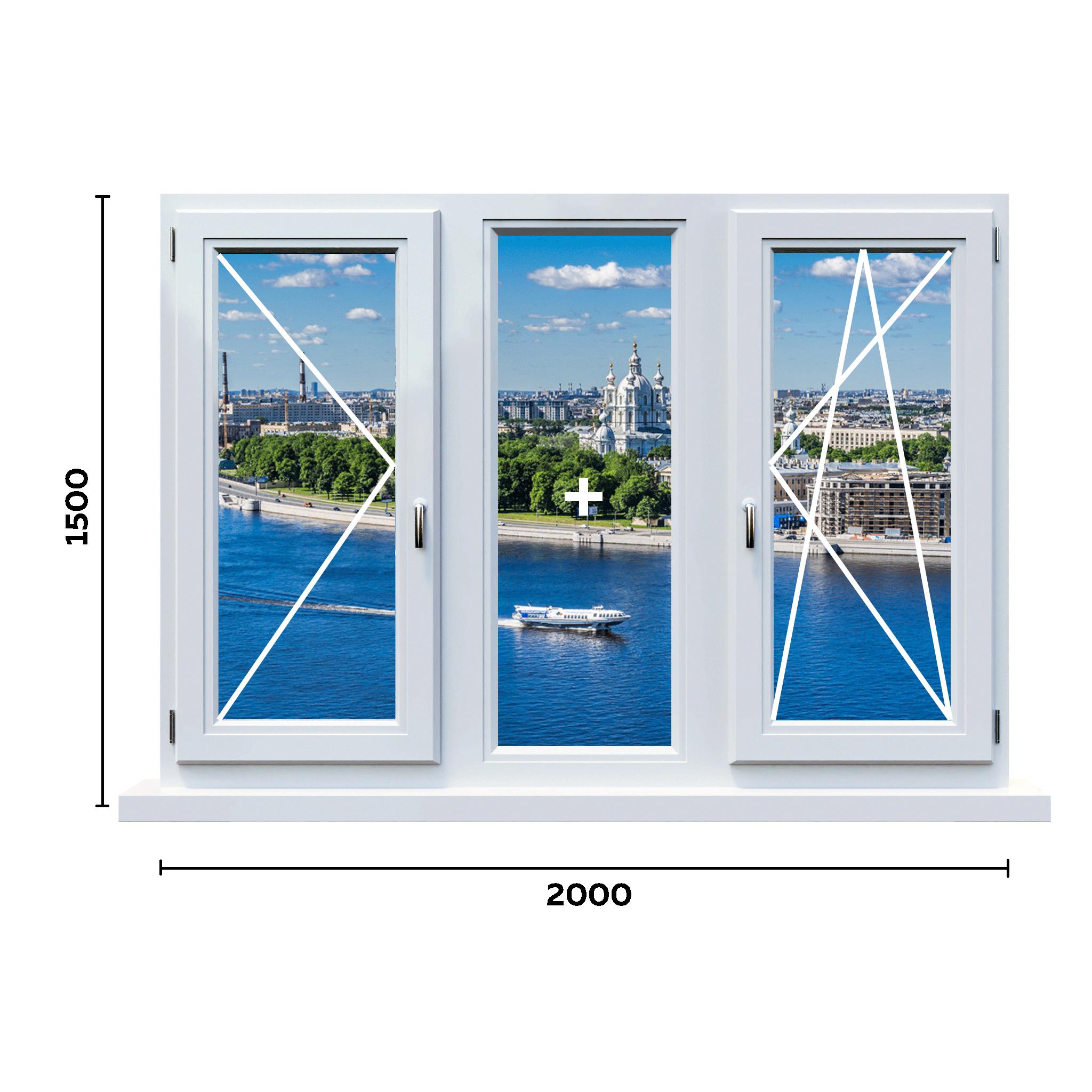 схема окна 650 мм с двумя ручками