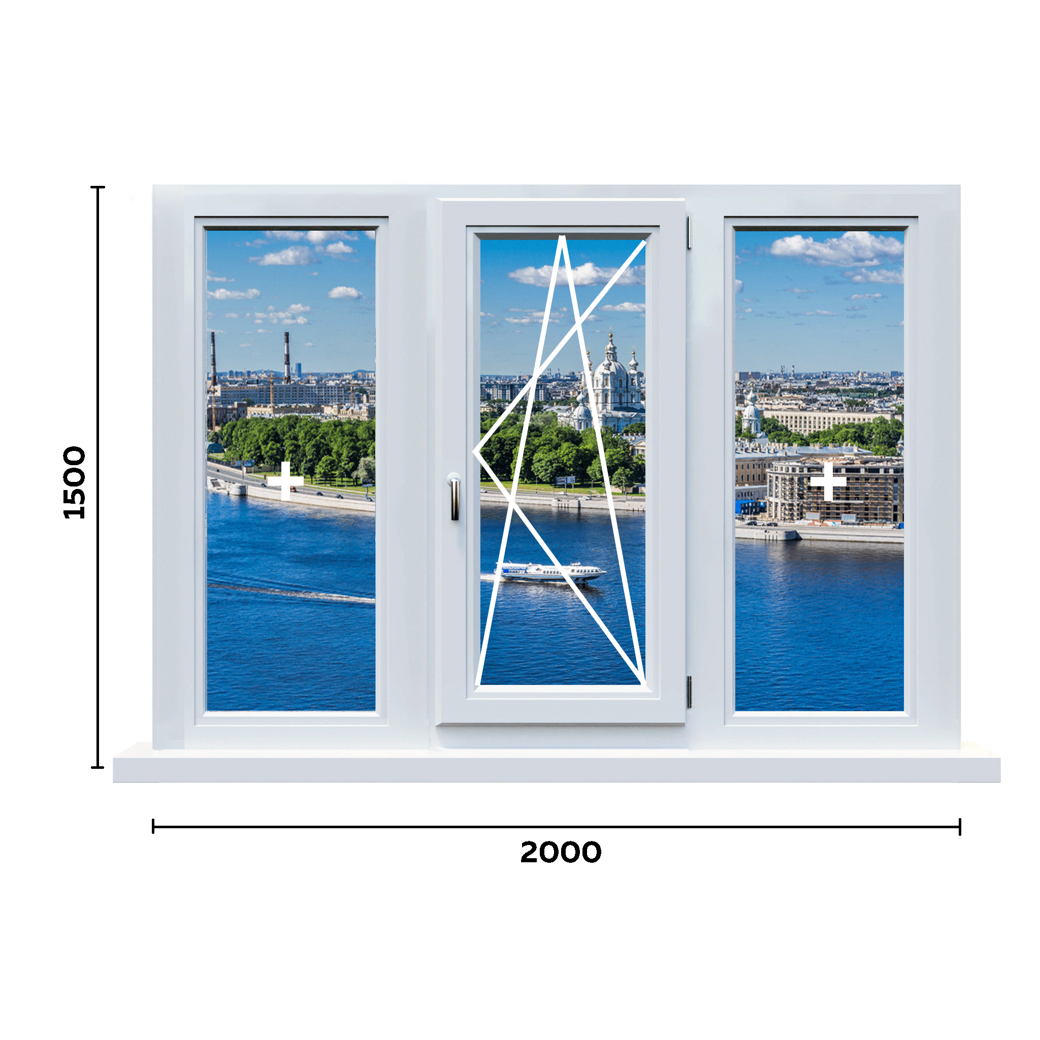 схема окна 2000мм вариант 1