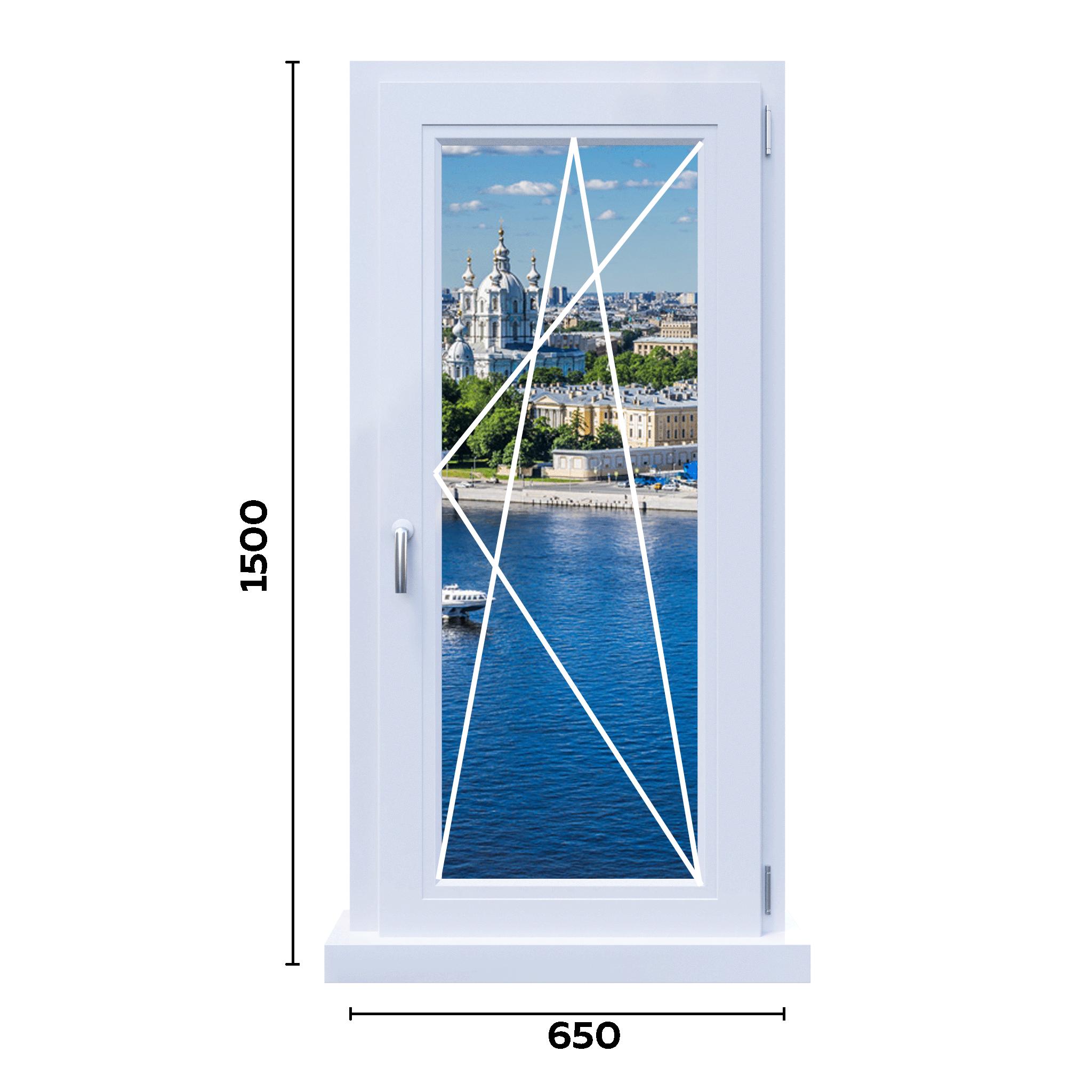 схема одностворчатого окна 650 мм
