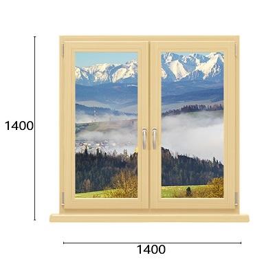 двухстворчатое окно из дерева-алюминия