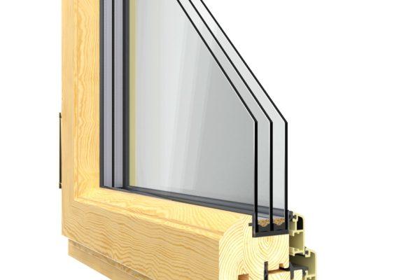 окна из дерево-алюминия фото в разрезе