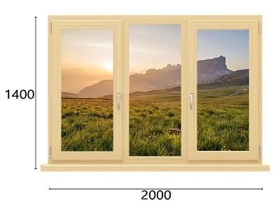 трехстворчатое окно из дерева-алюминия