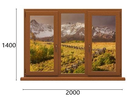 трехстворчатое окно из дуба