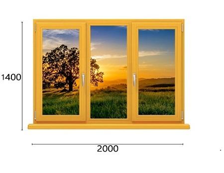 трехстворчатое окно из лиственницы