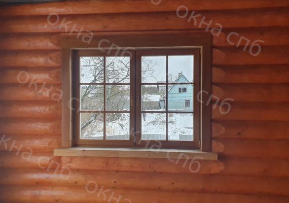 деревянное остекление из лиственницы в частном доме